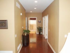 Wide hallway in the Kaluza home