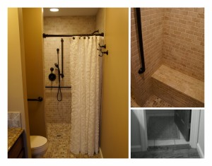 Removed the door & installed a new walk-in shower with seat